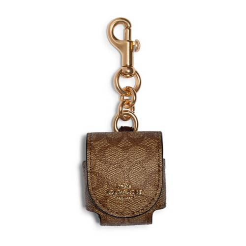 COACH F88253 EARBUD CASE BAG CHARM IN SIGNATURE CANVAS [MCF88253GDNVZ]