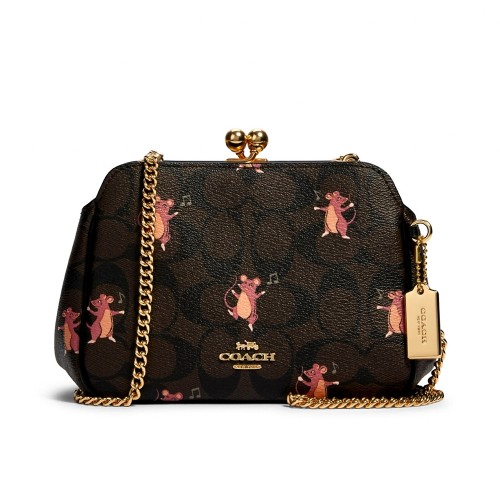 กระเป๋าสะพายข้าง COACH F80181 PEARL KISSLOCK CROSSBODY IN SIGNATURE CANVAS WITH PARTY MOUSE PRINT (IMPH5) Color: IM/BROWN PINK MULTI