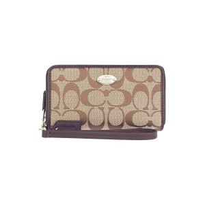COACH - F53616 DOUBLE ZIP PHONE WALLET IN 12CM SIGNATURE - SKHMA
