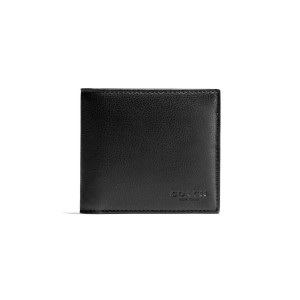 COACH - F75084 DOUBLE BILLFOLD WALLET IN CALF LEATHER - BLK