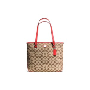 COACH - F36375 ZIP TOP TOTE IN 12CM SIGNATURE - SVDZ7
