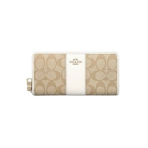 COACH - F52859 ACCORDION ZIP WALLET IN SIGNATURE CANVAS WITH LEATHER - IMDQC