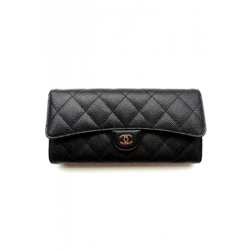 กระเป๋าสตางค์ CHANEL CLASSIC FLAP WALLET BLACK CAVIAR SHW
