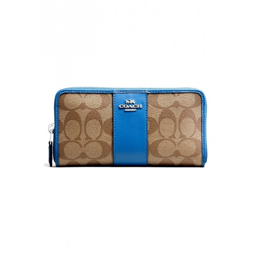 กระเป๋า COACH F54630 ACCORDION ZIP WALLET IN SIGNATURE COATED CANVAS WITH LEATHER STRIPE  (SVM8R)