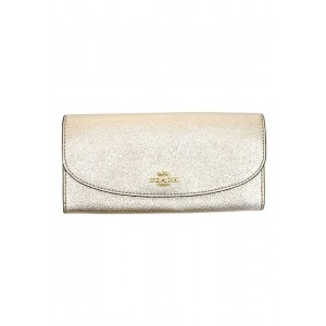 กระเป๋าสตางค์ COACH F23255 SLIM ENVELOPE WALLET IN METALLIC CROSSGRAIN LEATHER (IMLH4)