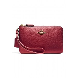 กระเป๋าคล้องมือสองซิป COACH F87590 DOUBLE CORNER ZIP WALLET IN POLISHED PEBBLE LEATHER (IMCMS)