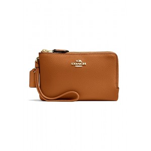 กระเป๋าคล้องมือสองซิป COACH F87590 DOUBLE CORNER ZIP WALLET IN POLISHED PEBBLE LEATHER (IMSAD)