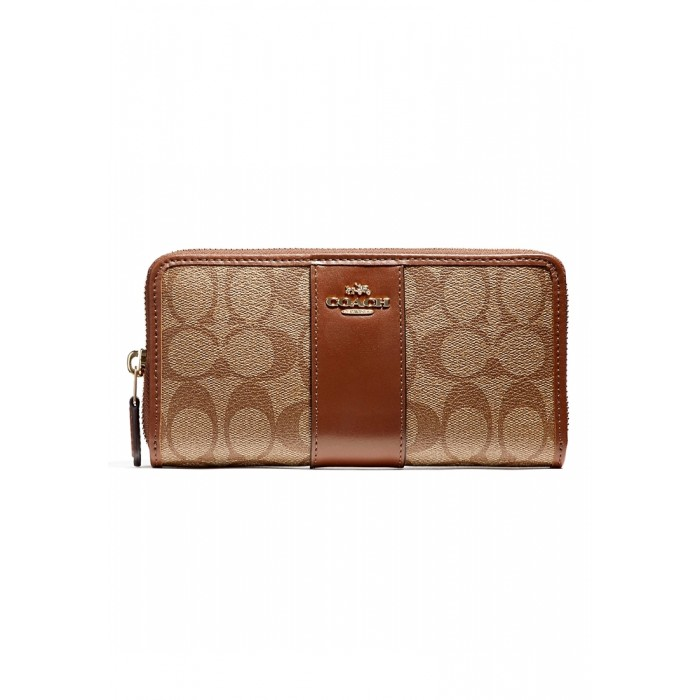 the latest a1add d42bd กระเป๋า COACH F54630 ACCORDION ZIP WALLET IN SIGNATURE COATED CANVAS WITH  LEATHER STRIPE (IME74)