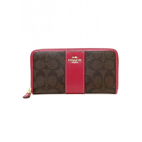 กระเป๋า COACH F54630 ACCORDION ZIP WALLET IN SIGNATURE COATED CANVAS WITH LEATHER STRIPE  (IMNM4)