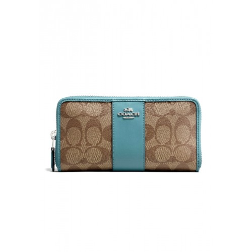 กระเป๋า COACH F54630 ACCORDION ZIP WALLET IN SIGNATURE COATED CANVAS WITH LEATHER STRIPE  (SVNKD)