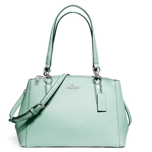กระเป๋า COACH F13684 SMALL CHRISTIE CARRYALL IN GLITTER CROSSGRAIN LEATHER (SVAQ)