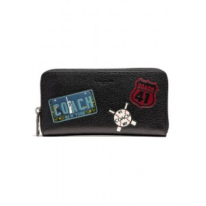 กระเป๋าสตางค์ COACH F24657 ACCORDION WALLET WITH MOTIF MIXED PATCHES (BLK)