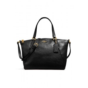 กระเป๋า COACH F27596 MINI KELSEY SATCHEL IN METALLIC PEBBLE LEATHER (IMBLK)