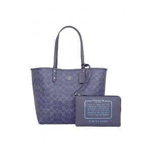 กระเป๋า COACH F25849 REVERSIBLE CITY TOTE IN SIGNATURE AND METALLIC CANVAS (SVN46)