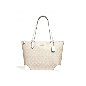 กระเป๋า COACH F29208 ZIP TOP TOTE IN SIGNATURE CANVAS (IMDQC)