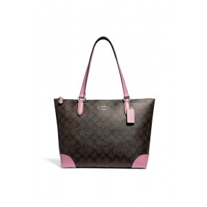กระเป๋า COACH F29208 ZIP TOP TOTE IN SIGNATURE CANVAS (SVNJK)