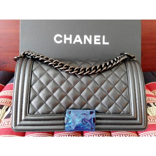"กระเป๋า CHANEL BOY MEDIUM 10"" BLACK CAVIAR SO BLACK 17S"