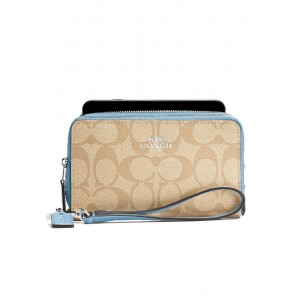 """กระเป๋า COACH F53937 DOUBLE ZIP PHONE WALLET IN SIGNATURE (SVCA0)  """