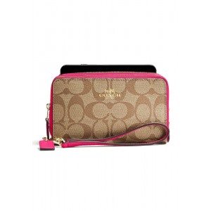 """กระเป๋า COACH F53937 DOUBLE ZIP PHONE WALLET IN SIGNATURE (IMDCD)  """