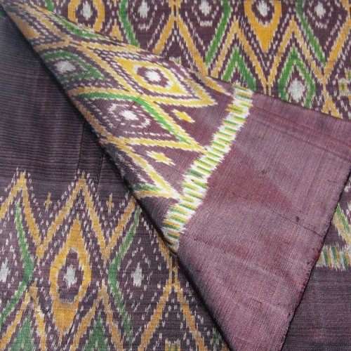 100% Thai Silk Fabric Mudmee Handwoven with 6-ply Authentic Silk (Deep Blue Purple Base)