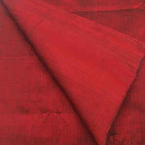 100% Thai Silk Fabric Handwoven with 6-ply Authentic Silk (Red)