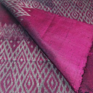 100% Thai Silk Fabric Mudmee Handwoven with 6-ply Authentic Silk (Purple Base/Grey Pattern)