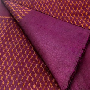 100% Thai Silk Fabric Mudmee Handwoven with 6-ply Authentic Silk (Purple Base/Yellow Pattern)