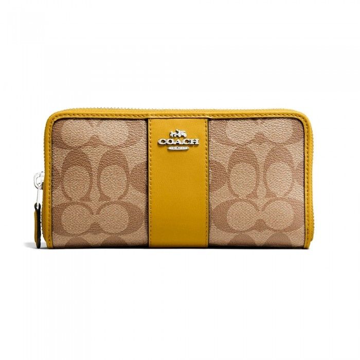 online retailer b5d3b ed0f4 กระเป๋า COACH F54630 ACCORDION ZIP WALLET IN SIGNATURE COATED CANVAS WITH  LEATHER STRIPE (SVOG6)