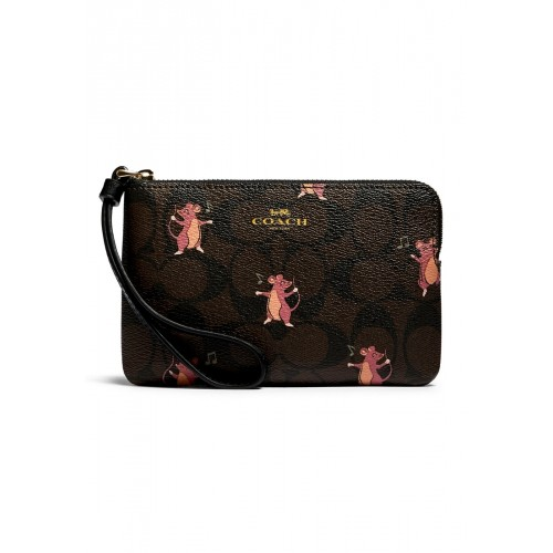 COACH F87876 CORNER ZIP WRISTLET IN SIGNATURE CANVAS WITH PARTY MOUSE PRINT  (IMPH5)