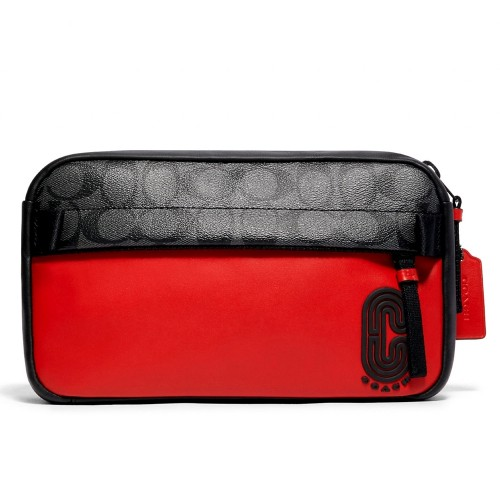กระเป๋า COACH 599 EDGE BELT BAG IN REFLECTIVE SIGNATURE CANVAS (QBQBK) Color: QB/SPORT RED CHARCOAL