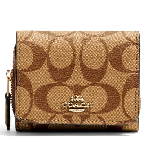 กระเป๋าสตางค์ COACH 41302 SMALL TRIFOLD WALLET IN SIGNATURE CANVAS (IMPWD) Color: IM/KHAKI BLOSSOM