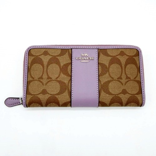 กระเป๋าสตางค์ผู้หญิง COACH F54630 ACCORDION ZIP WALLET IN SIGNATURE CANVAS  (SKHLL) Color: SV/KHAKI/LILAC