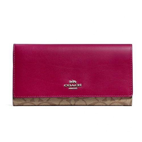 กระเป๋าสตางค์ COACH F88024 TRIFOLD WALLET IN SIGNATURE CANVAS (SVPK1) Color: SV/KHAKI DARK FUCHSIA