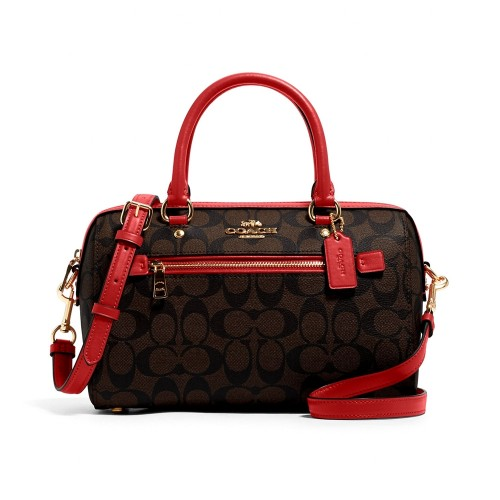 กระเป๋าสะพายข้าง COACH 83607 ROWAN SATCHEL IN SIGNATURE CANVAS (IMRVQ)  สี : IM/BROWN 1941 RED